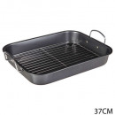roasting pan with grill, gray