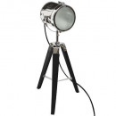 schwarze metall / holz lampe ebor h68, schwarz