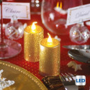 groothandel Home & Living: kaars led votive glitter pm x2 goud