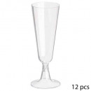disposable champagne flute x12, transparent