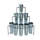 Display + 9 cache pots, silver