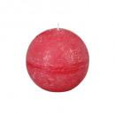 czerwona świeca rustykalna ball d8, czerwona