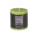 bougie ronde rustic vert 6.7x7, vert clair