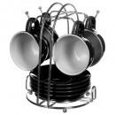 grossiste Maison et cuisine: tasse sur rack x4 pois noir 8c, noir