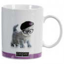 mug droit photo chat 35cl, 4-fois assorti, multico