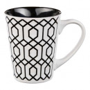 conical mug geometric b & w 30cl, 4- times ass