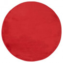 tapis velours ronde rouge d90, rouge