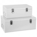 white metal canteen x2, white
