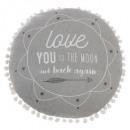 Pillow round gray tassels d.40, gray