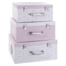 cardboard box trunk x3 pink, pink