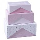 caja de cartón sorpresa x3 rosa, rosa