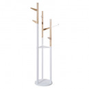 wood and white coat rack, multicolored