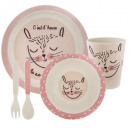 bamboo meal set 5 pcs pink, assorted colors