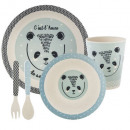 bamboo meal set 5 pcs blue, multicolored