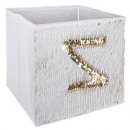 bin storage sequin gold / white, white
