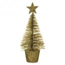 artificial fir glitter table 14cm gold