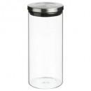 jarra de vidrio + acero inoxidable 1.3l, plateado