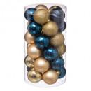 świąteczna kula 60mm x 30 niebieskiego złota