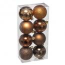pallina di natale 70mm x 8 bronzo, marrone