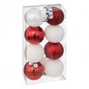 palla di natale 70mm x 8 bianco rge