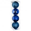 kulka świąteczna 80mm x 4 niebieska n