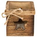 Teelicht Holz Quadrat Ajre Kerze CP, 3-fach assor