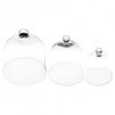 campana de vidrio transparente x3, transparente