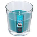 bougie parfumées verre coco nina 90g, bleu