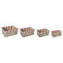 panier osier rectangle bistrot x4, multicolore
