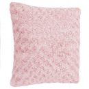 coussin four bouclee rose45x45, rose clair