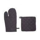 gant + manique cotton gris fonce, gris foncé