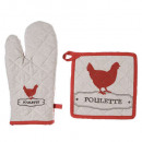 gant + manique poule, multicolore