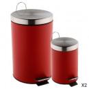 poubelle 12l + 3l rouge, gris