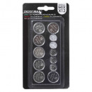 button batteries set x12, silver