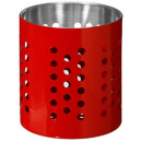 pot range couverts inox rouge, rouge