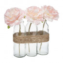 compo rose rose tube verre h23 x3, rose