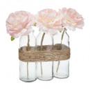 rózsaszín rózsa üveg cső h23 x3 komposzt, rózsaszí
