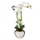 orchidee ceramic vase silver h.53, silver