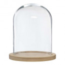 bell glass wood base h29.5, transparent