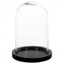cloche verre socle bois h26, transparent