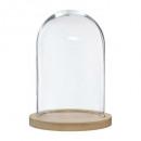 cloche verre socle bois h26, transparent