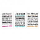 sticker txt 30x40 regles, 3-fois assorti, multicol