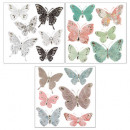 butterfly relief sticker x6, 3- times assorted , m