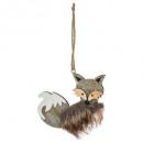 christmas decoration wood fox + fur x 2