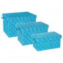 rechthoek box x3 turquoise, lichtblauw