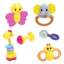 wholesale Baby Toys: puericulture box 6 rattles, multicolored