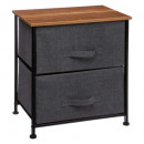 bedside table 2 drawers dark gray, dark gray