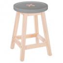 gray button stool, white