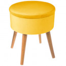 velvet tess moutrd box stool, yellow