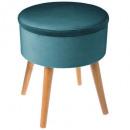 velvet tess duck box stool, blue